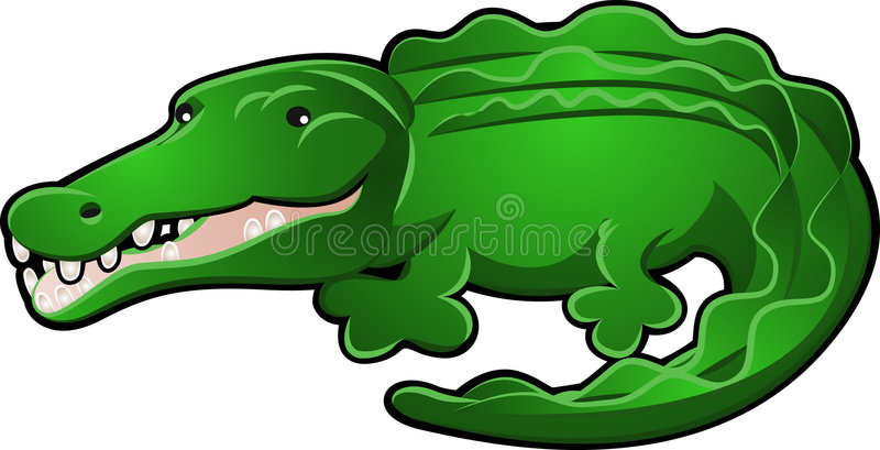Desenhos animados bonitos do jacaré ou do crocodilo ilustração royalty free