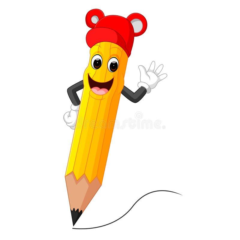 Desenhos animados bonitos do lápis ilustração do vetor