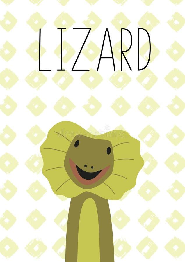 Desenhos animados bonitos do lagarto Ilustração do vetor Cartaz, cartão para crianças ilustração royalty free
