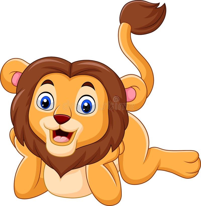 Desenhos animados bonitos do leão do bebê ilustração do vetor
