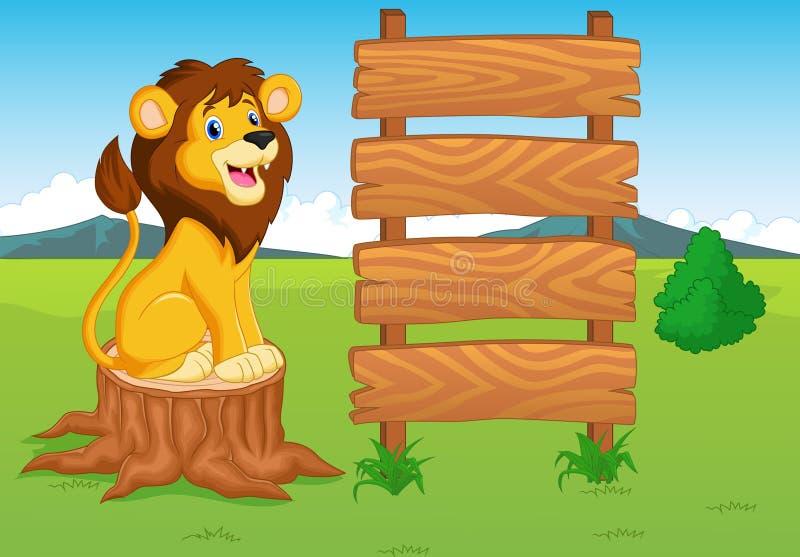 Desenhos animados bonitos do leão com sinal de madeira ilustração royalty free