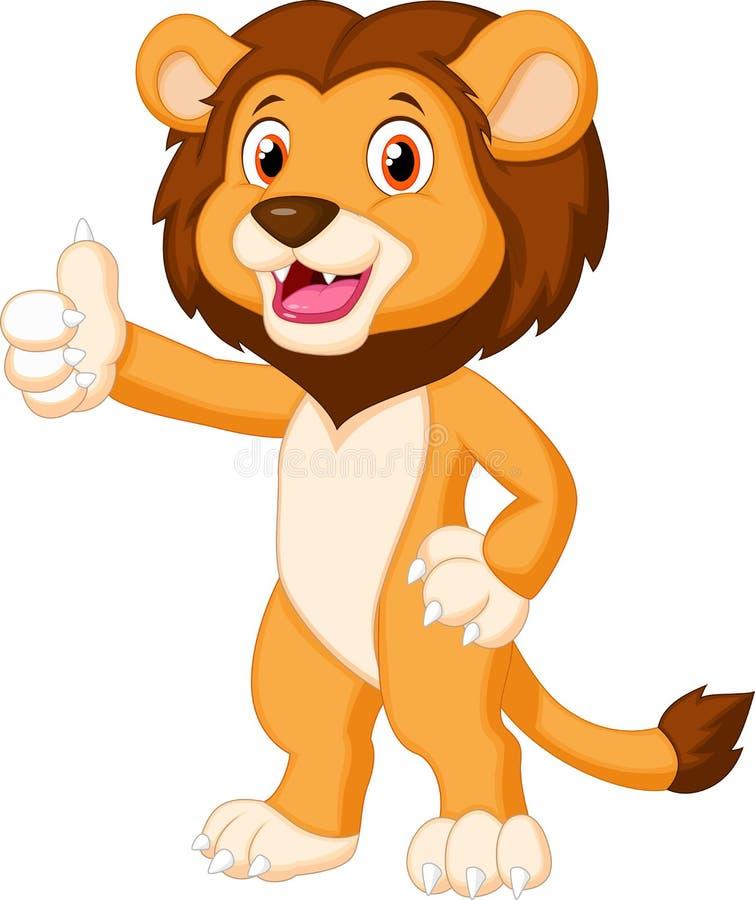 Desenhos animados bonitos do leão que dão o polegar acima ilustração stock