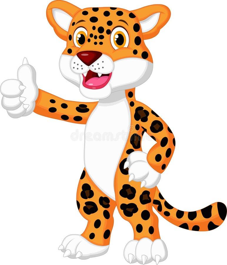 Desenhos animados bonitos do leopardo que dão o polegar acima ilustração do vetor