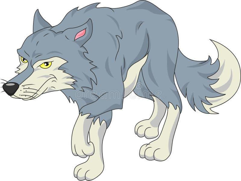 Desenhos animados bonitos do lobo ilustração stock
