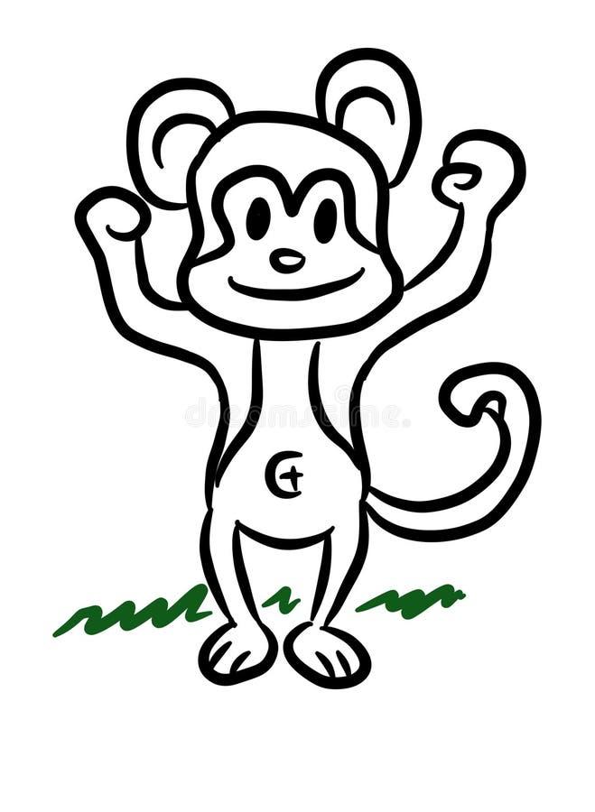 Desenhos animados bonitos do macaco ilustração royalty free
