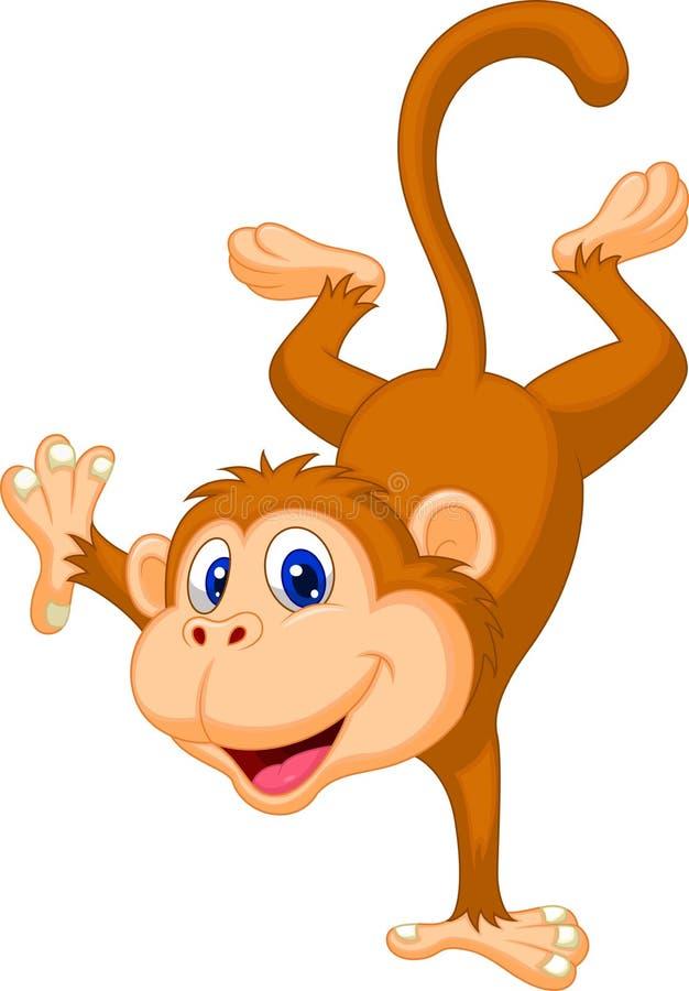 Desenhos animados bonitos do macaco que estão em sua mão ilustração do vetor