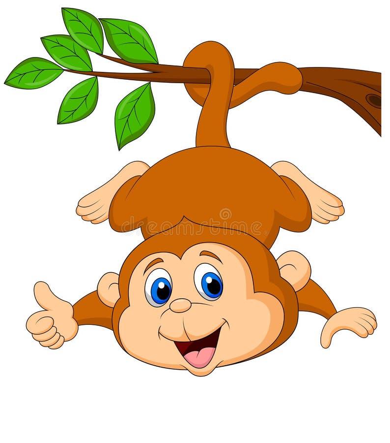 Desenhos animados bonitos do macaco que penduram em um ramo de árvore com polegar acima ilustração stock