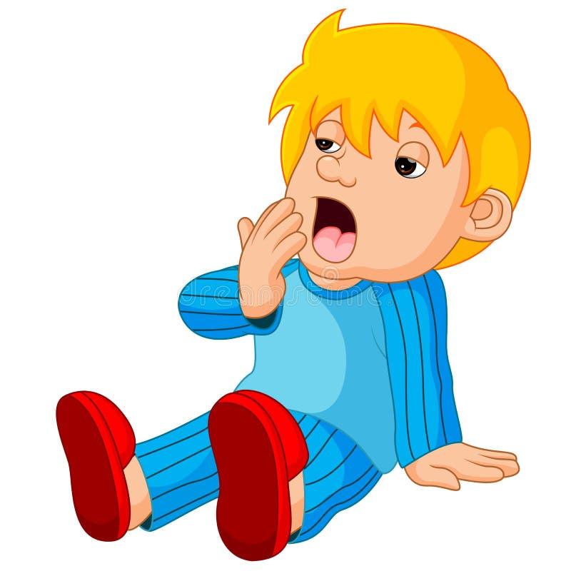 Desenhos animados bonitos do menino sonolentos ilustração stock