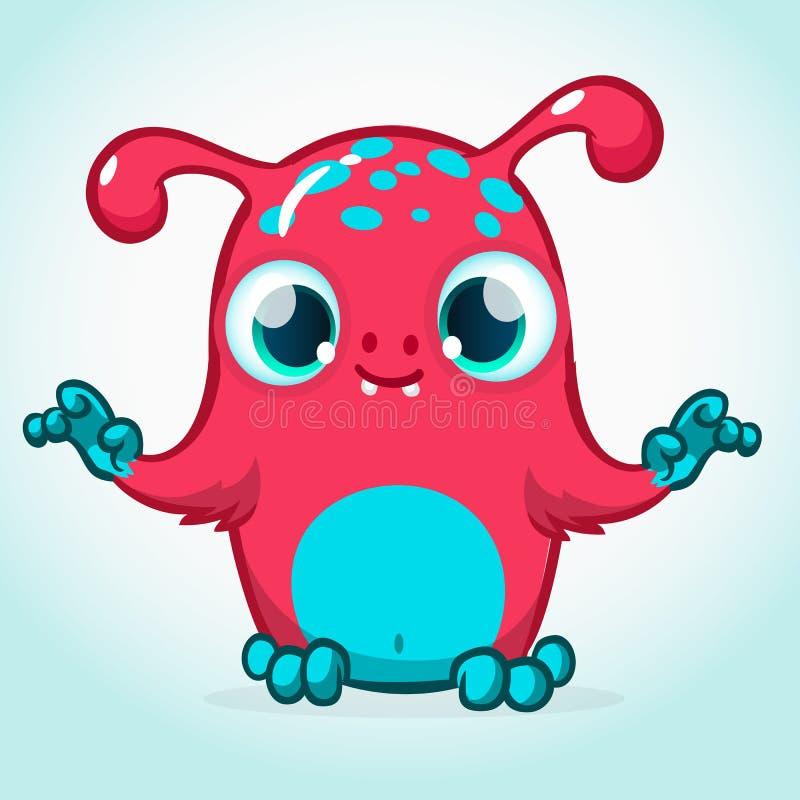 Desenhos animados bonitos do monstro Mascote do vetor ilustração stock