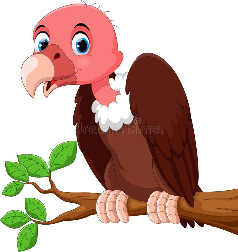 Desenhos animados bonitos do pássaro do abutre no ramo de árvore ilustração royalty free