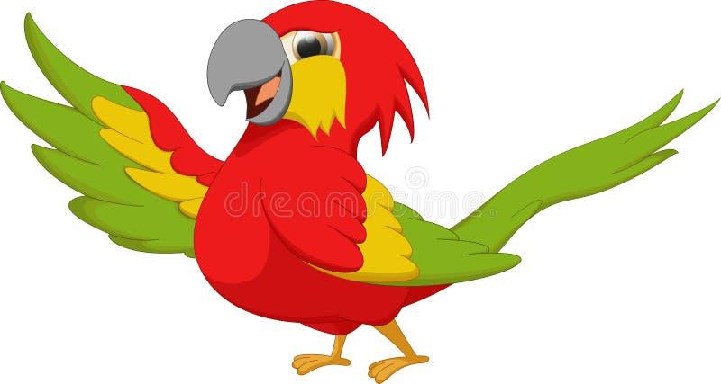 Desenhos animados bonitos do pássaro do macaw ilustração royalty free