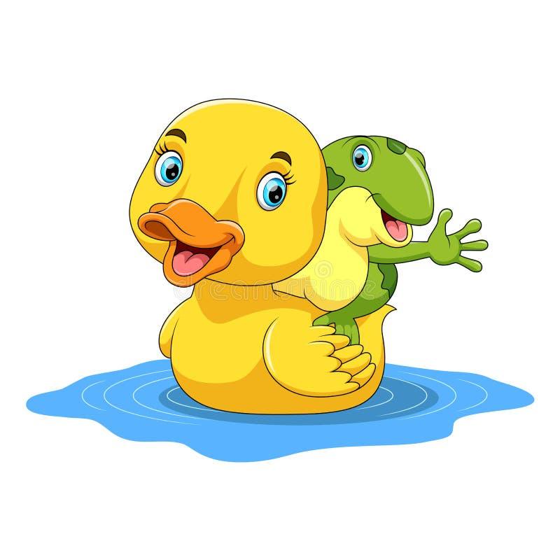 Desenhos animados bonitos do pato e da rã ilustração stock