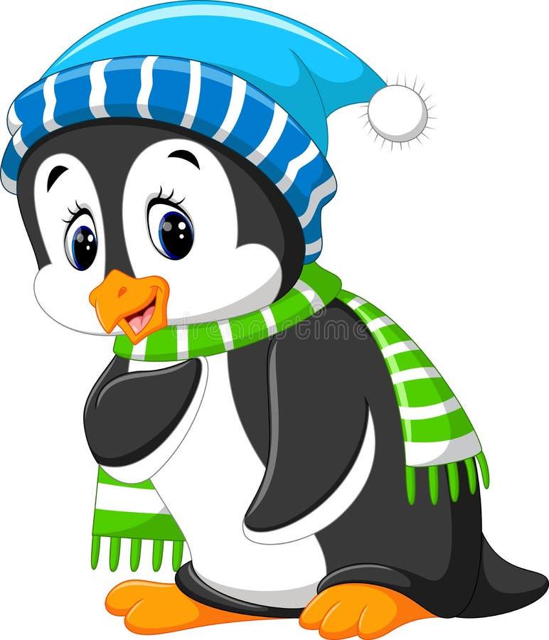 Desenhos animados bonitos do pinguim ilustração royalty free