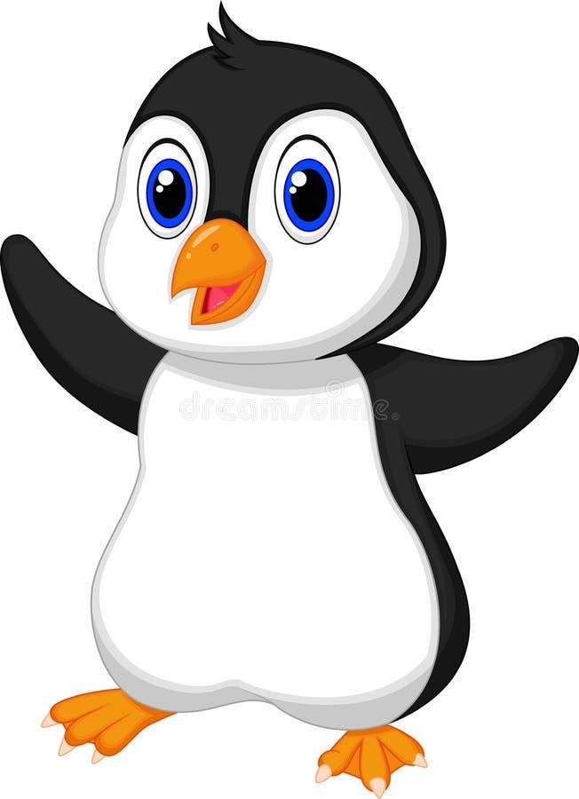 Desenhos animados bonitos do pinguim do bebê ilustração do vetor