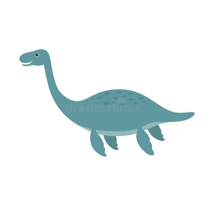 Desenhos animados bonitos do plesiosaurus ilustração do vetor