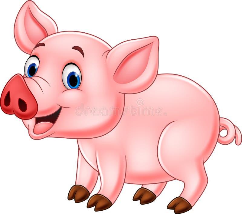 Desenhos animados bonitos do porco ilustração stock