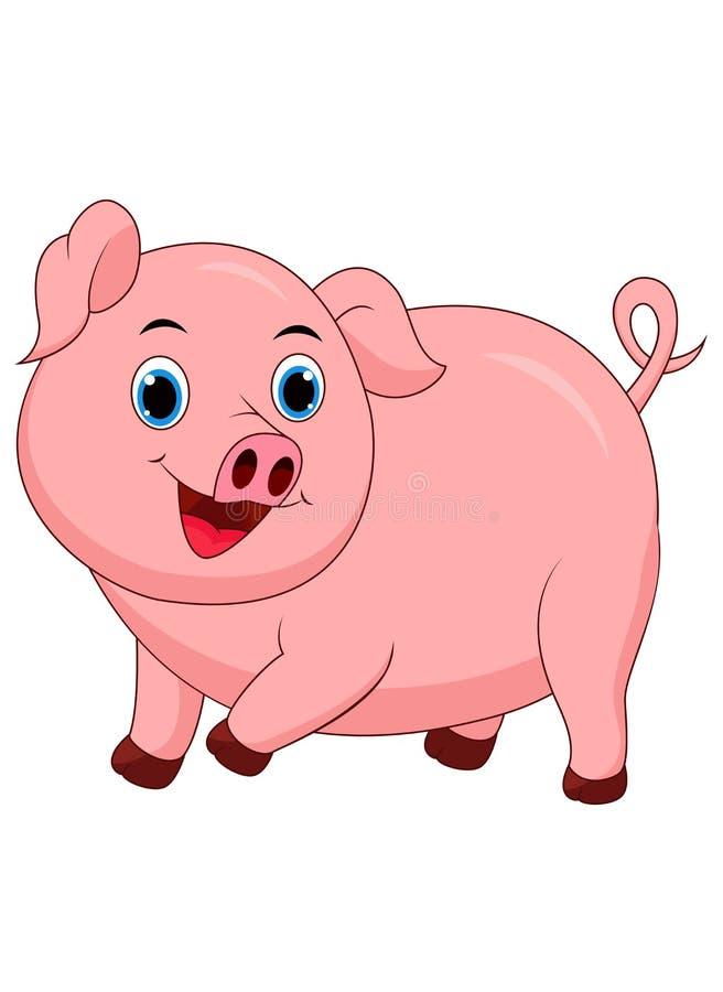 Desenhos animados bonitos do porco isolados no fundo branco ilustração royalty free