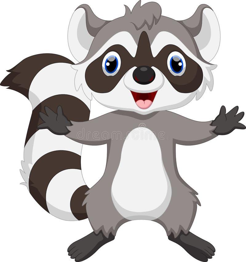 Desenhos animados bonitos do raccoon ilustração royalty free