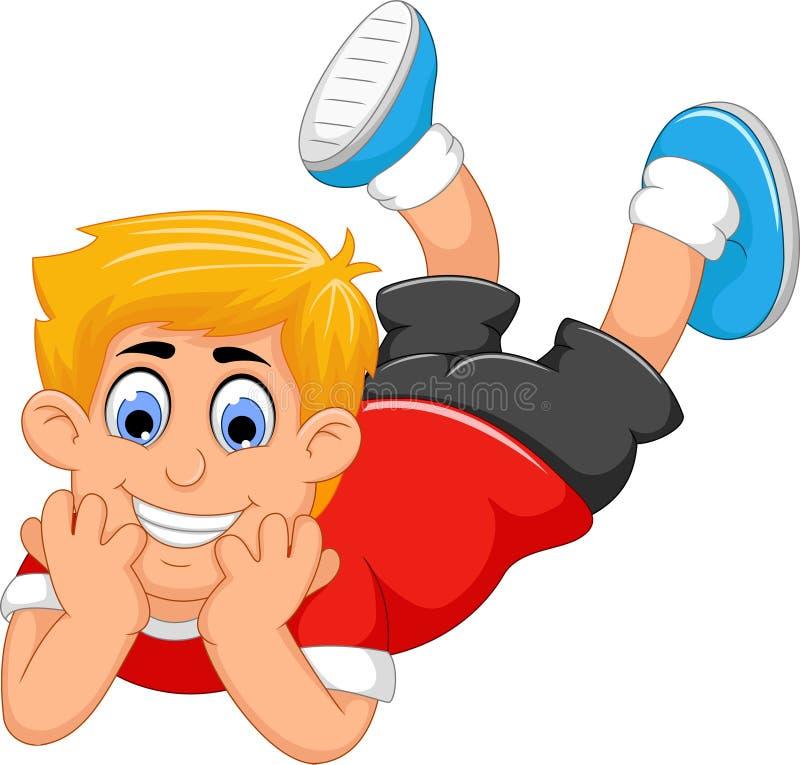 Desenhos animados bonitos do rapaz pequeno propensos ilustração do vetor