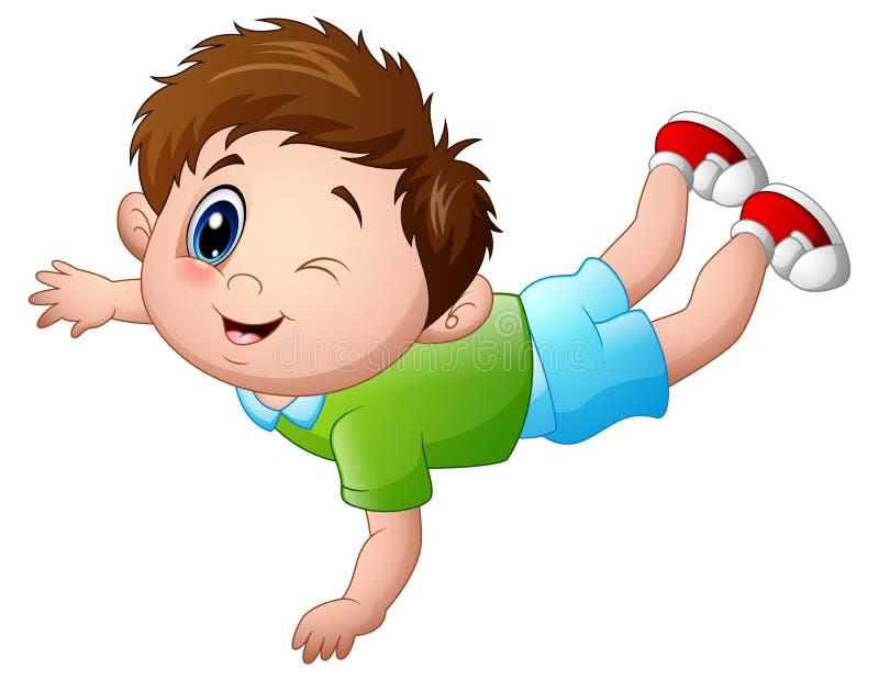Desenhos animados bonitos do rapaz pequeno propensos ilustração stock