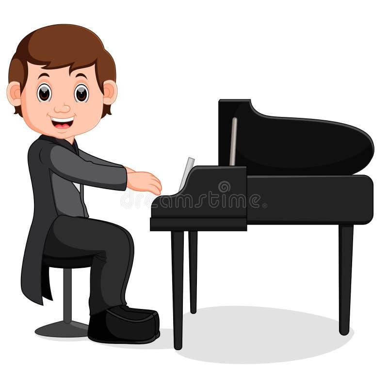 Desenhos animados bonitos do rapaz pequeno que jogam o piano ilustração royalty free