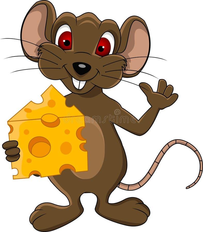 Desenhos animados bonitos do rato com queijo ilustração stock
