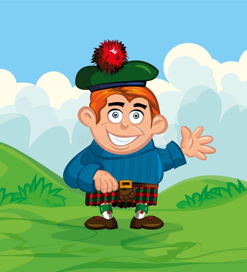 Desenhos animados bonitos do scotsman ilustração royalty free