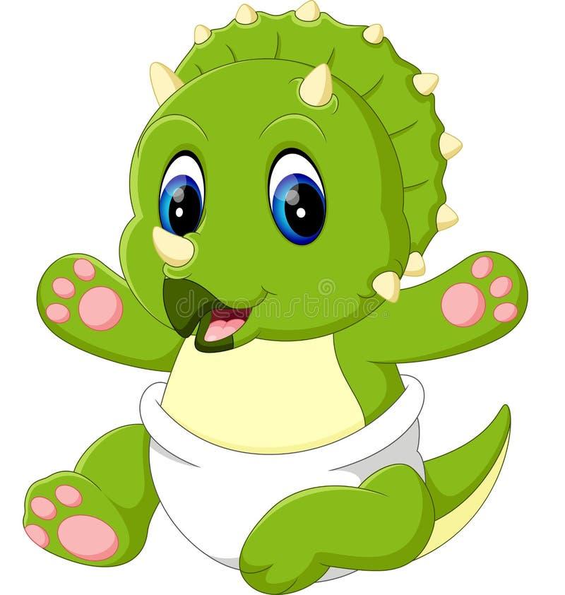 Desenhos animados bonitos do triceratops do bebê ilustração royalty free