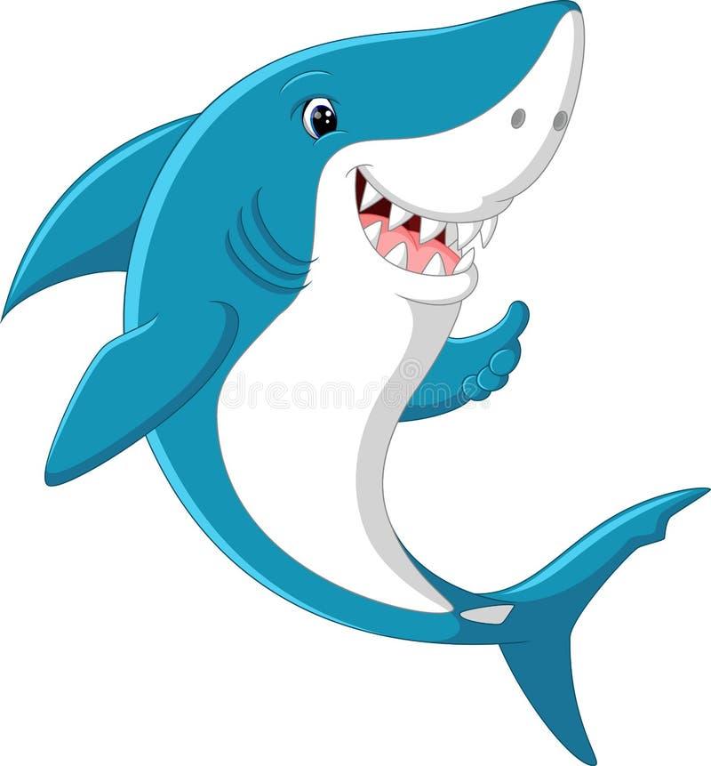 Desenhos animados bonitos do tubarão ilustração royalty free