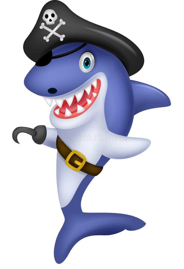 Desenhos animados bonitos do tubarão do pirata ilustração stock