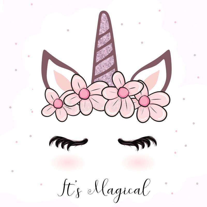 Desenhos animados bonitos do unicórnio com coroa da flor ilustração stock