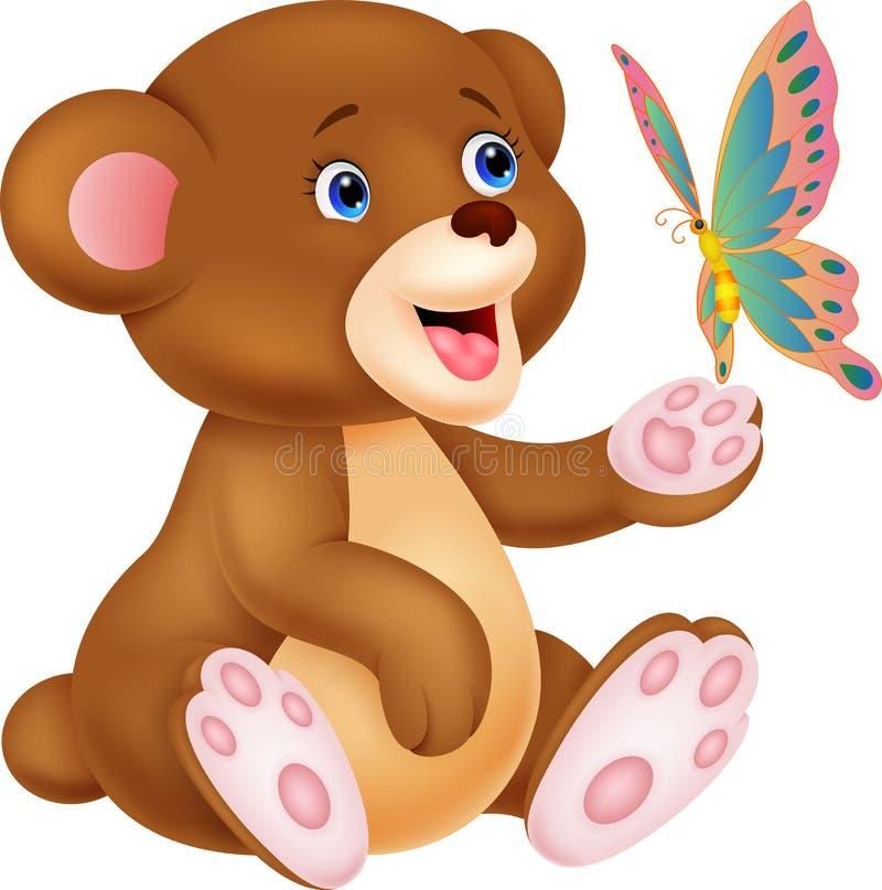 Desenhos animados bonitos do urso do bebê que jogam com borboleta ilustração do vetor