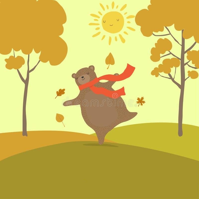 Desenhos animados bonitos do urso para olá! o projeto de conceito do outono A última chuva do berfore do dia ensolarado ilustração do vetor