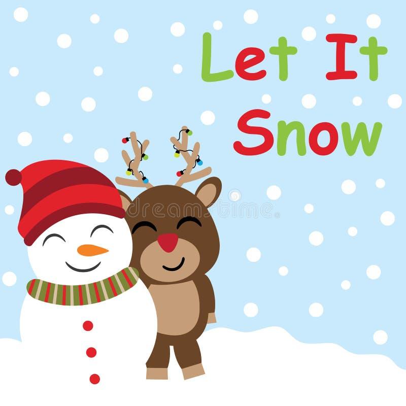 Desenhos animados bonitos dos cervos e do boneco de neve no fundo da queda da neve, no cartão do Xmas, no cartão e no papel de pa ilustração royalty free