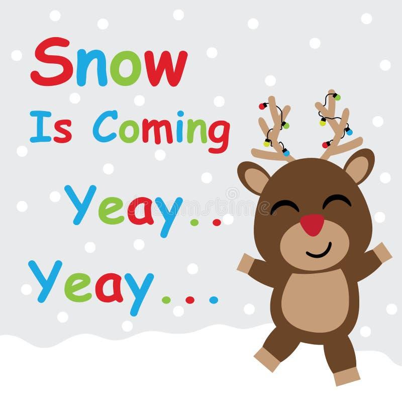 Desenhos animados bonitos dos cervos no fundo da neve, no cartão do Xmas, no cartão e no papel de parede, ilustração stock