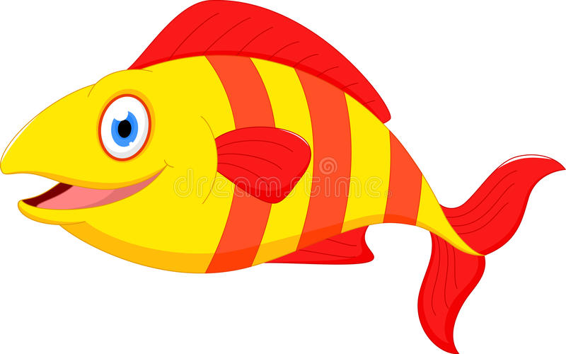 Desenhos animados bonitos dos peixes ilustração stock