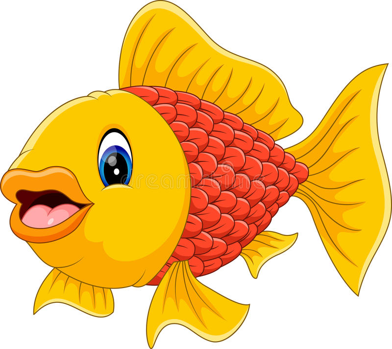 Desenhos animados bonitos dos peixes ilustração royalty free