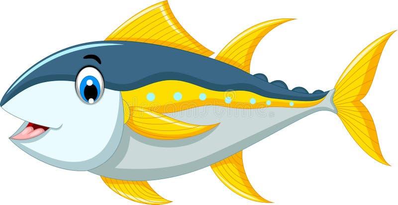 Desenhos animados bonitos dos peixes de atum ilustração royalty free