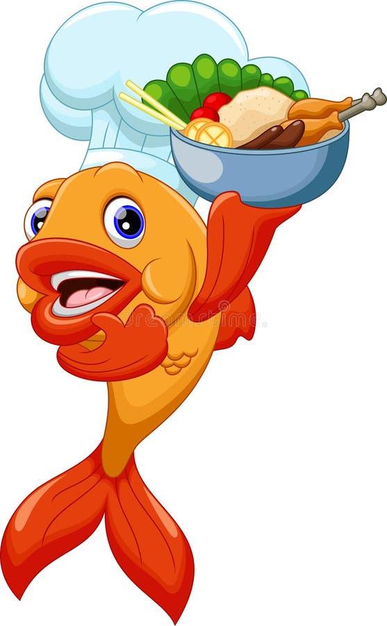 Desenhos animados bonitos dos peixes do cozinheiro chefe ilustração do vetor