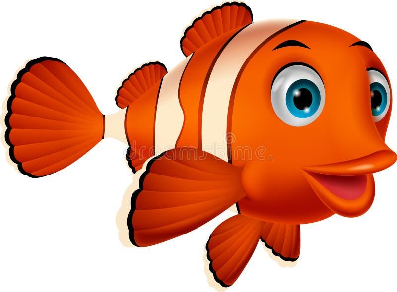 Desenhos animados bonitos dos peixes do palhaço ilustração do vetor