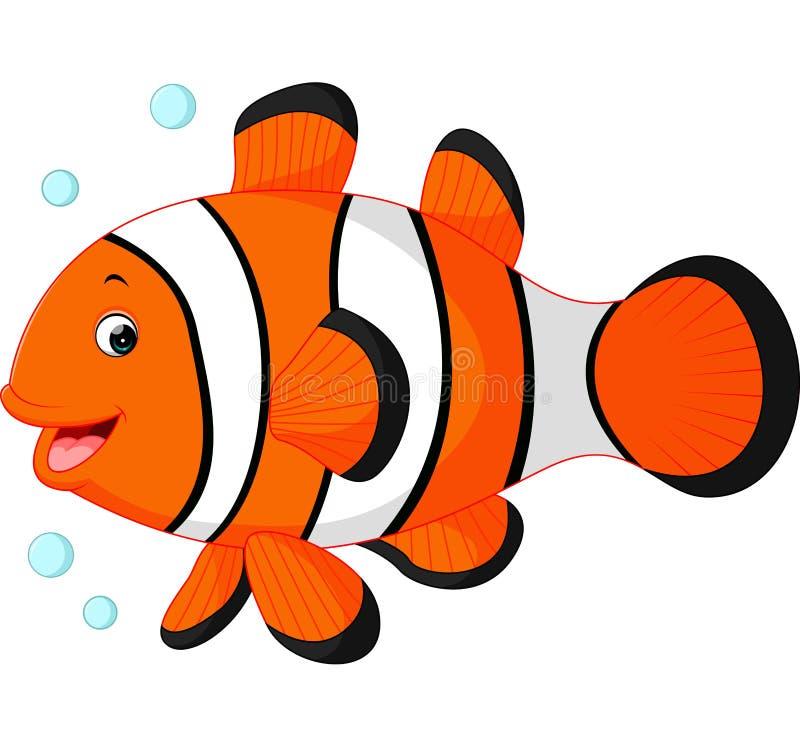 Desenhos animados bonitos dos peixes do palhaço ilustração royalty free