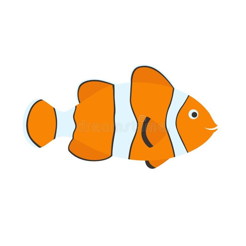 Desenhos animados bonitos dos peixes do palhaço ilustração stock
