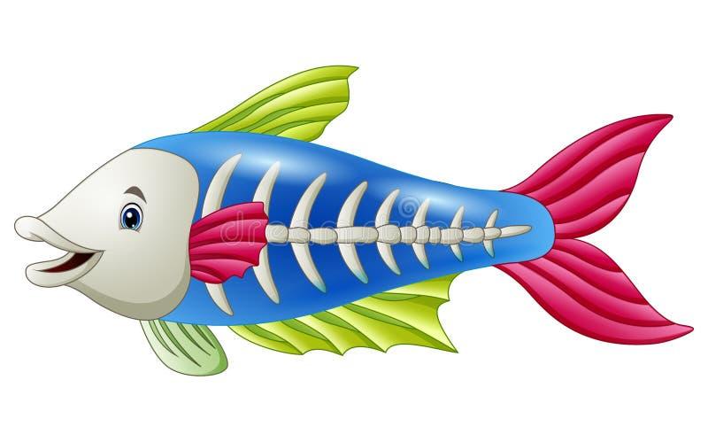 Desenhos animados bonitos dos peixes do raio X ilustração do vetor