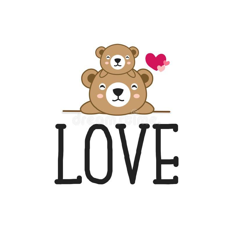 Desenhos animados bonitos dos ursos com amor ilustração do vetor
