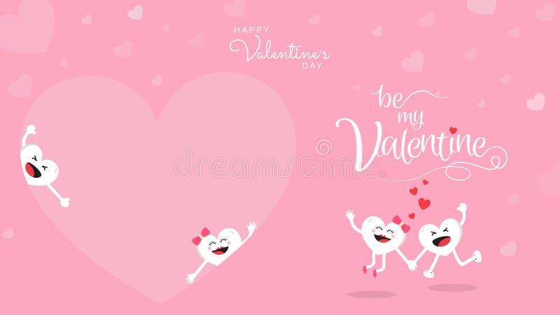 Desenhos animados bonitos felizes do dia de Valentim no fundo cor-de-rosa ilustração do vetor