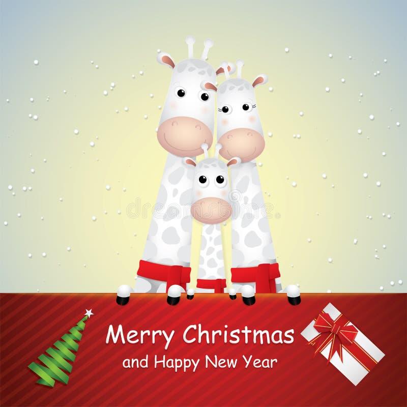 Desenhos animados bonitos, girafas família e vale-oferta ilustração do vetor