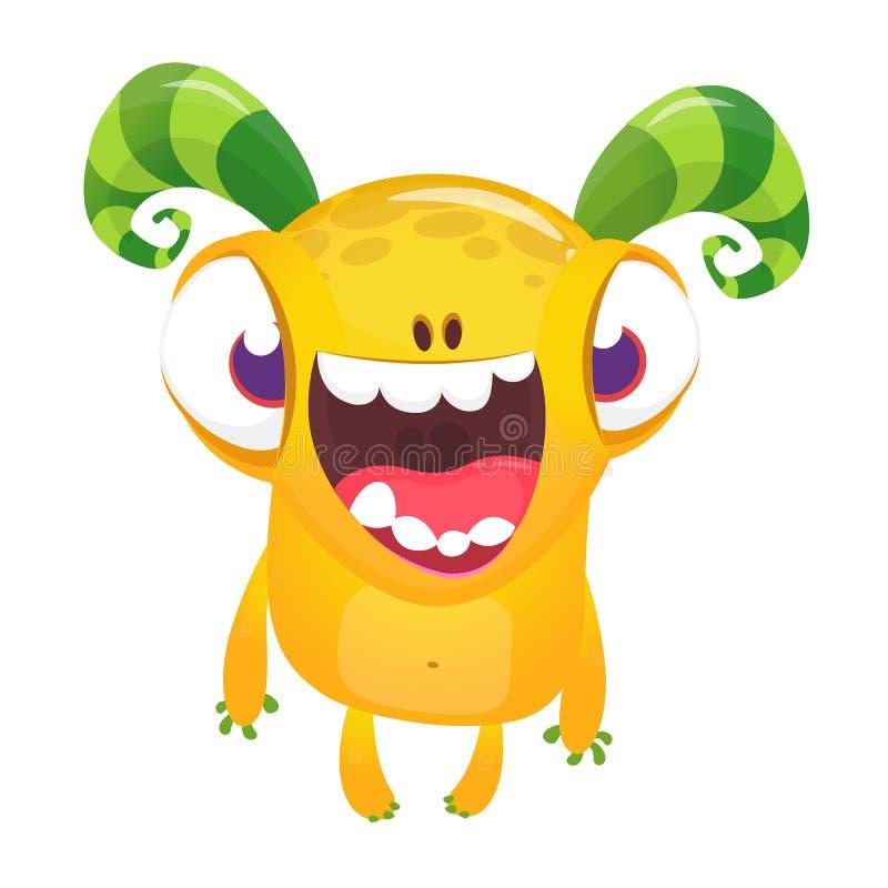 Desenhos animados bonitos monstro de sorriso excitado Caráter estrangeiro do vetor Isolado ilustração royalty free