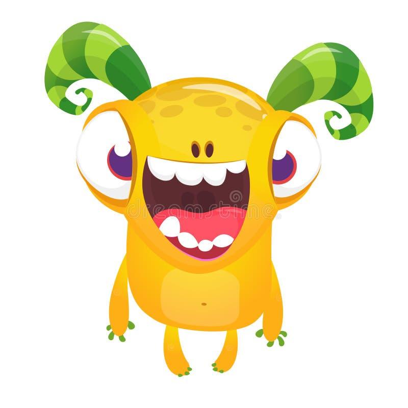 Desenhos animados bonitos monstro de sorriso excitado ilustração royalty free
