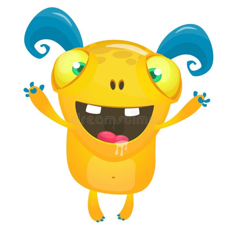 Desenhos animados bonitos monstro de sorriso excitado ilustração stock