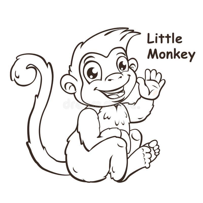 Desenhos animados bonitos que sentam o macaco pequeno ilustração do vetor